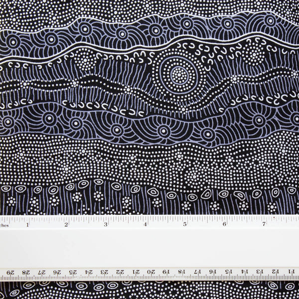 GATHERING BY THE CREEK BLACK by Aboriginal Artist Janet Long Nakamarra