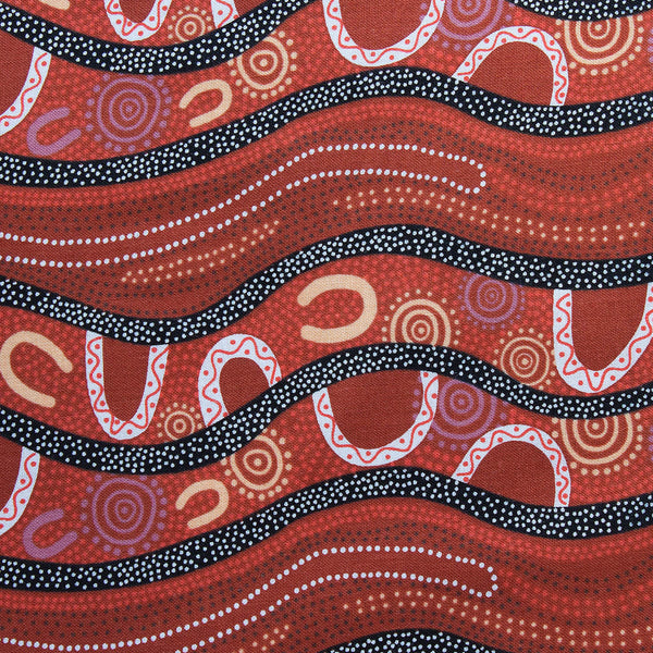GATHERING BY THE RIVER BURGUNDY by Australian Aboriginal Artist BARBARA EGAN