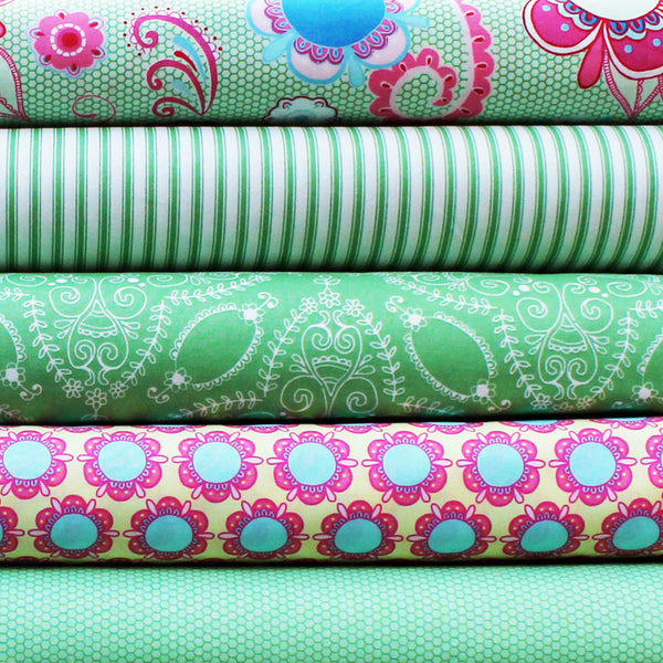 FLOWER CHILD GREEN  - FQ Bundle of 5 - Ella Blue Fabrics