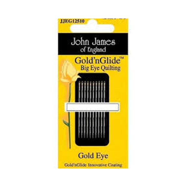 HAND NEEDLES - GOLD 'N GLIDE BIG EYE QUILTING - by John James