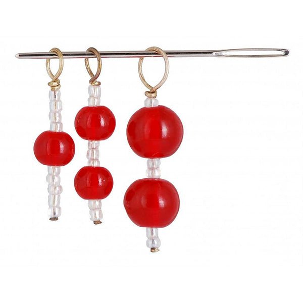 KNIT PRO - 3 STITCH RING MARKERS & 1 NEEDLE - SET - Ruby Red