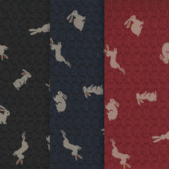 NARA (Hare) on Black - Traditional Japanese Fabric