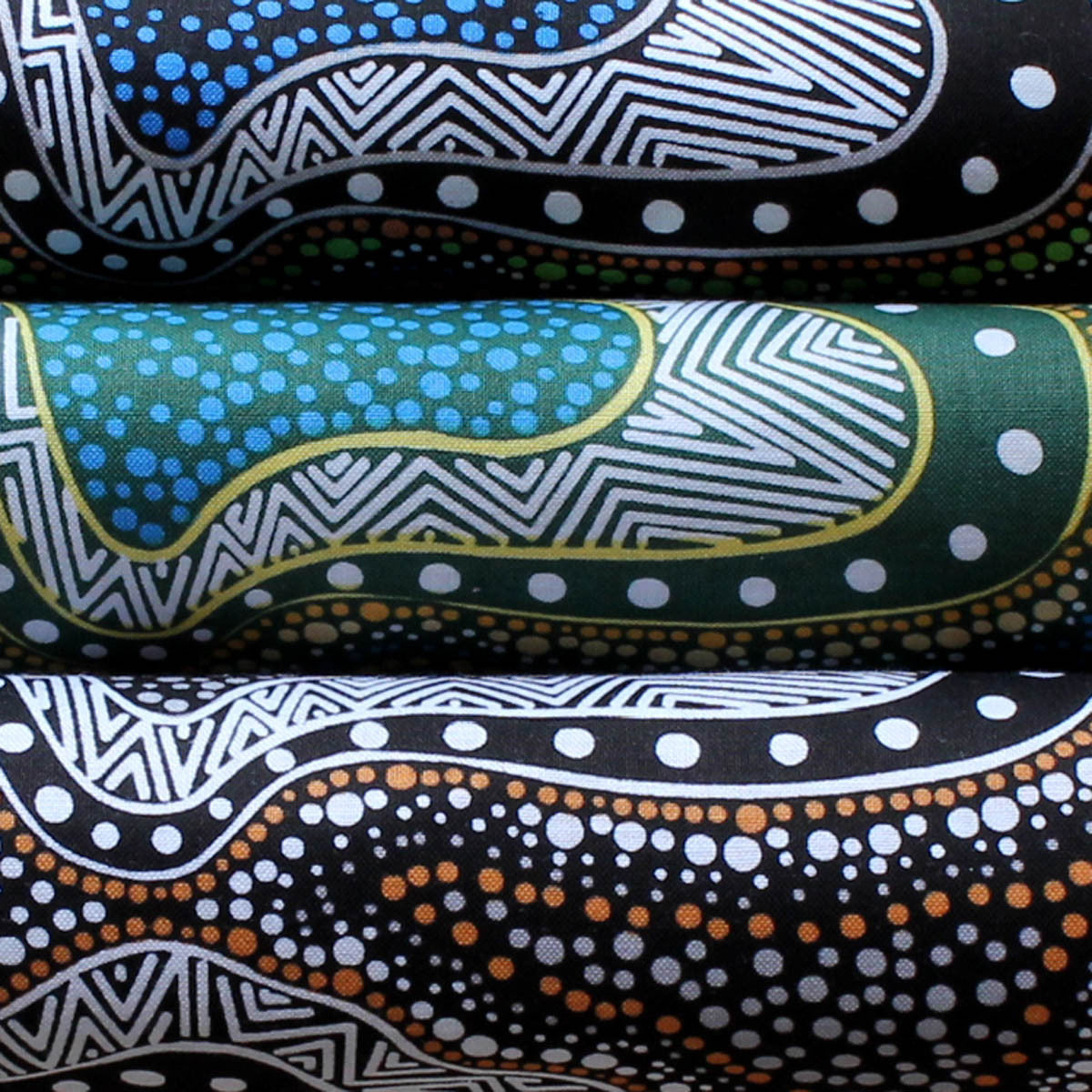 POSSUM LAND & WATER DREAMING GREEN by Aboriginal Artist HEATHER KENNEDY