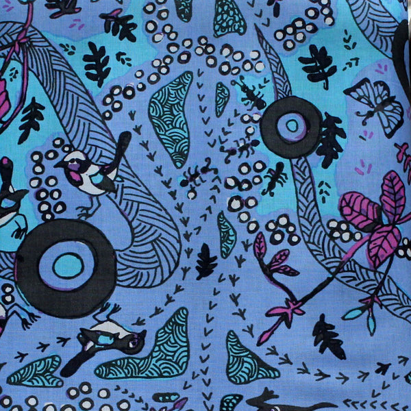 *RUNNING POSSUM VINE BLUE by Aboriginal Artist NAMBOOKA