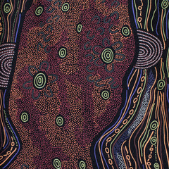 SANDY CREEK RED by Aboriginal Artist Janet Long Nakamarra
