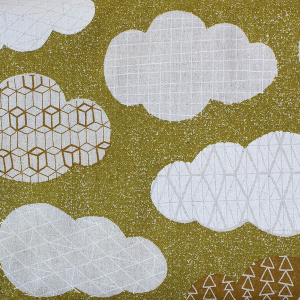SASAZUKA CLOUDS GREEN - Traditional Japanese Print - 55% Linen 45% Cotton