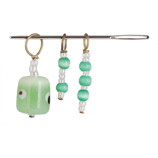 KNIT PRO - 3 STITCH RING MARKERS & 1 NEEDLE - SET - Grape Green