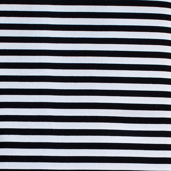 Cotton Quilting Weight Fabric - STRIPE BLACK & WHITE