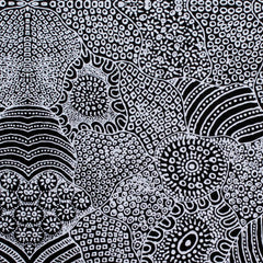 WATERHOLE  BLACK by Aboriginal Artist  ANNA PITJARA