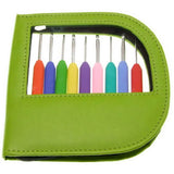 "KnitPro - WAVES - Set of 9 Aluminum Crochet Hooks in ""Soft-Feel' Ergonomic Handle"
