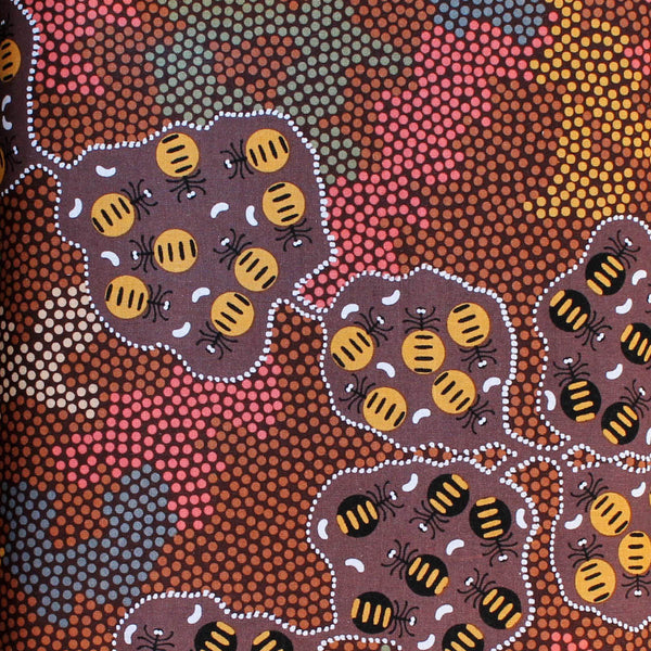 *WILD BUSH HONEY ANT BROWN by Aboriginal Artist AUDREY MARTIN NAPANANGKA