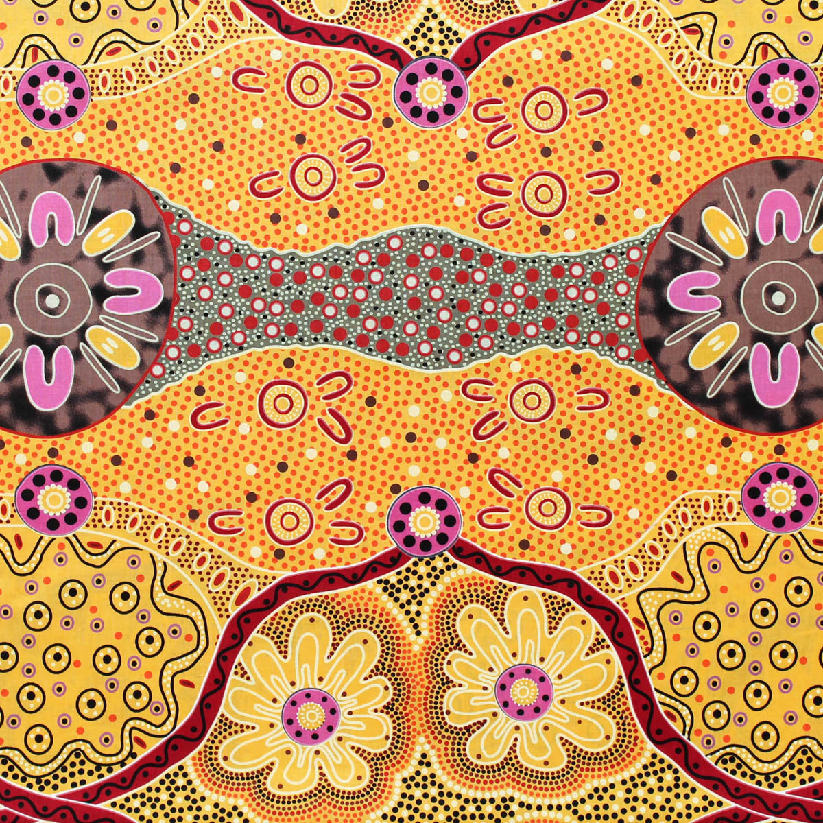 WOMENS BUSINESS GOLD by Australian Aboriginal Artist E. YOUNG