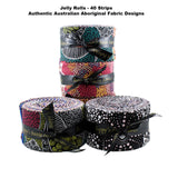 "JELLY ROLL - Multicoloured - 40 Strips 2.5"" x 44"" - Australian Aboriginal Fabric"