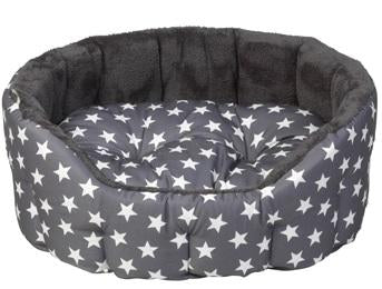 New House of Paws Grey Star Oval Bed (matching blanket available)