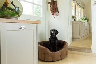 House of Paws Brown Tweed & Faux Sheepskin Oval - more available mid-May