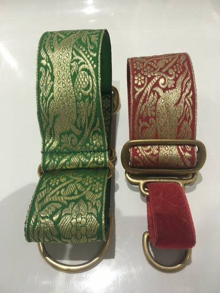 Bespoke Collar - Red or Green Stag (also available: velvet lead to match in red or emerald)