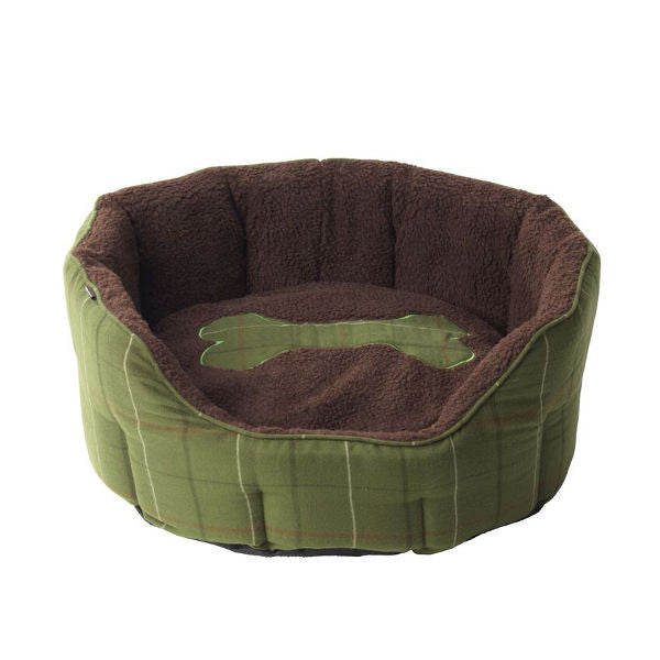 Beds - Green Tweed Bone Oval Bed