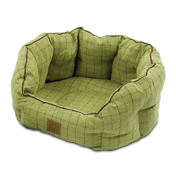 Beds - Green Tweed Oval Dog Bed