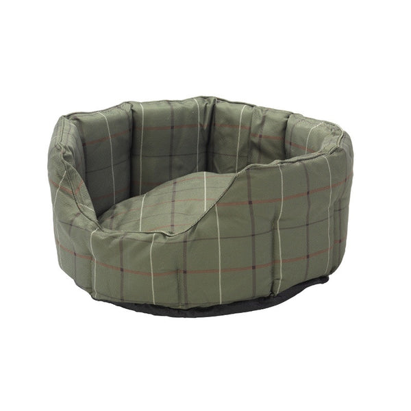 Beds - Green Tweed Printed Water Resistant Oval Bed