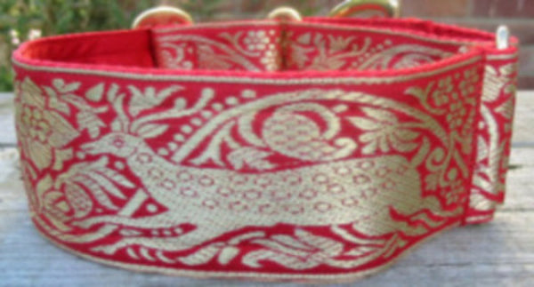 Bespoke Collars - Bespoke Collar - Red Stag (also Available: Velvet Lead To Match In Red)
