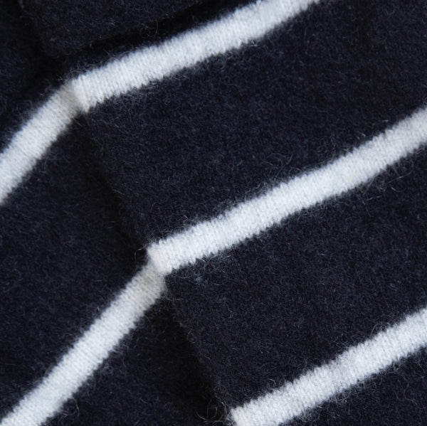 Navy & Cream Striped Cashmere Fingerless Gloves