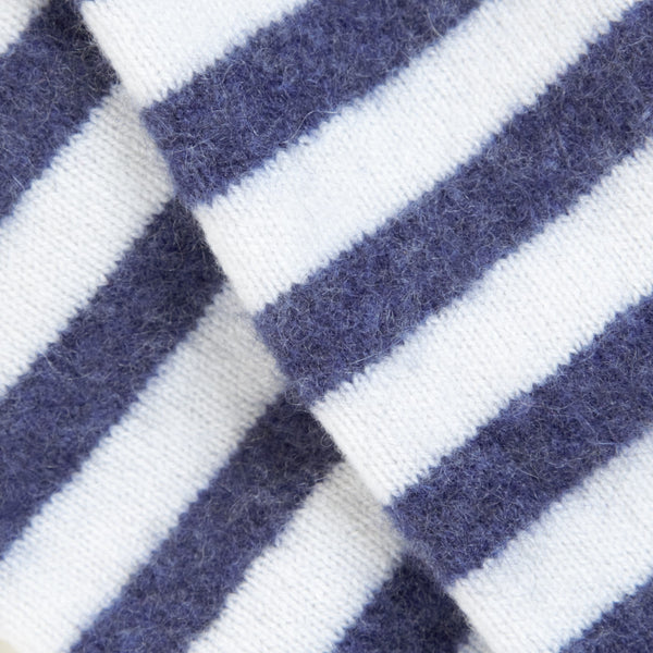 Blue & White Uniform Striped Cashmere Fingerless Gloves