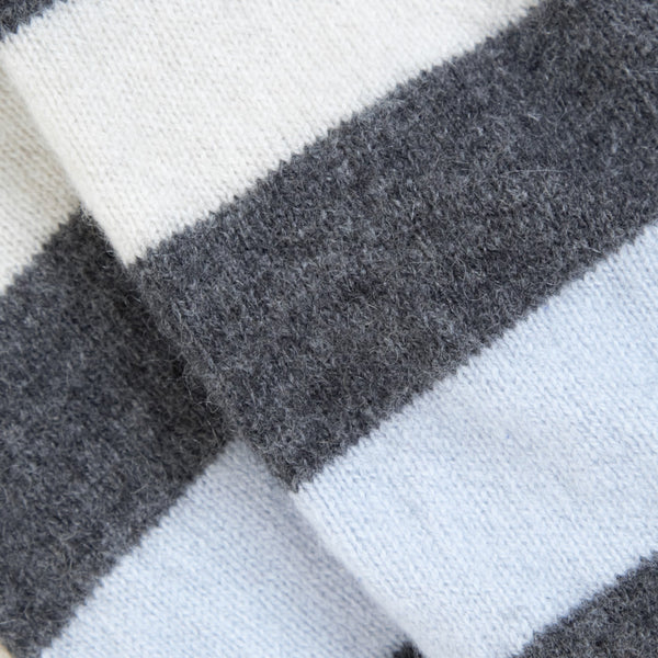 Blue, Grey & Cream Striped Cashmere Fingerless Gloves