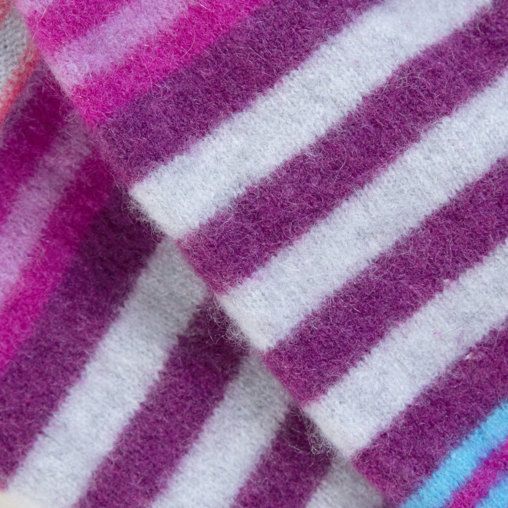 Pink Blue & White Striped Cashmere Fingerless Gloves