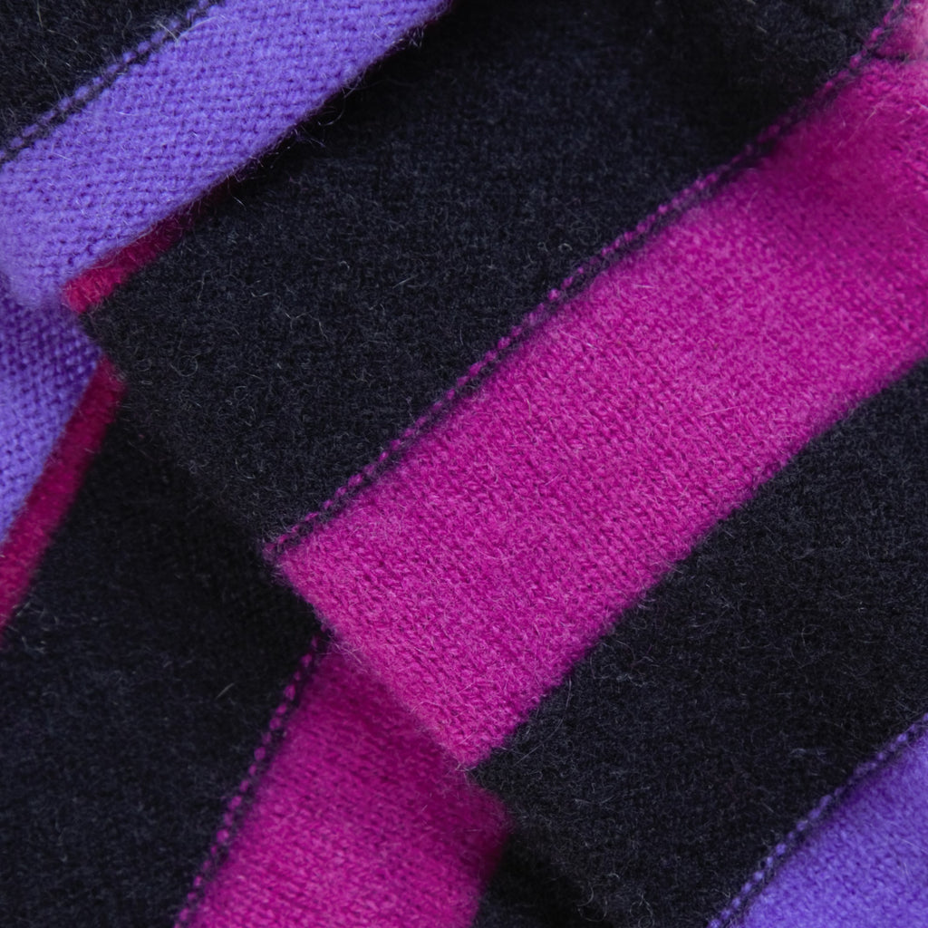 Purple, Pink & Black Striped Cashmere Fingerless Gloves