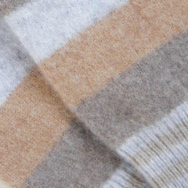 Soft Browns & Grey Striped Cashmere Fingerless Gloves