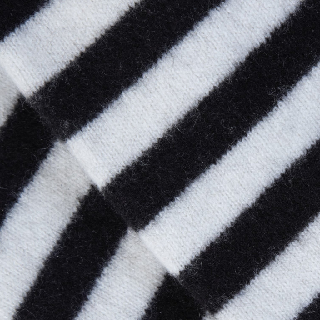 Cream & Black Striped Cashmere Fingerless Gloves