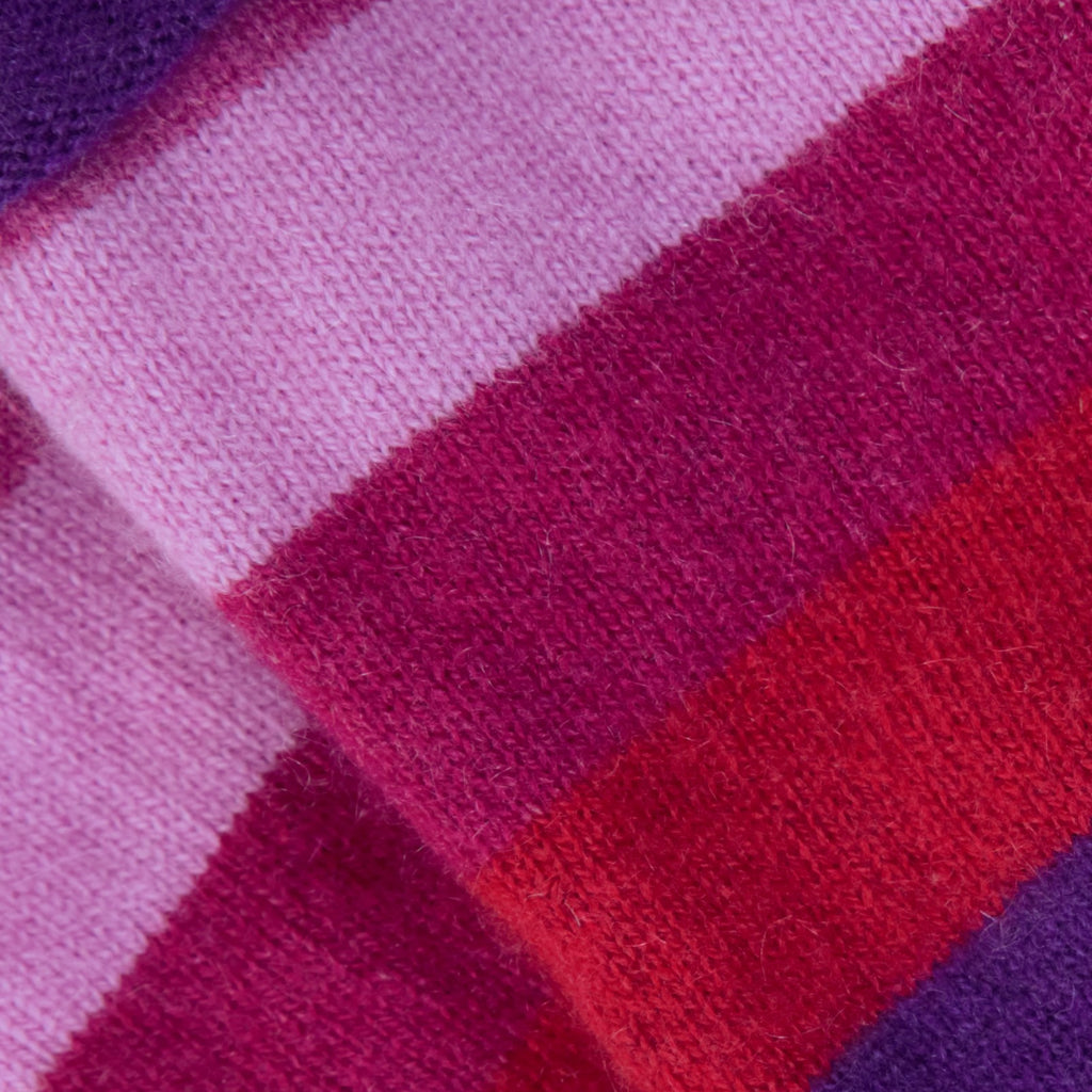 Red, Pink & Purple Striped Cashmere Fingerless Gloves