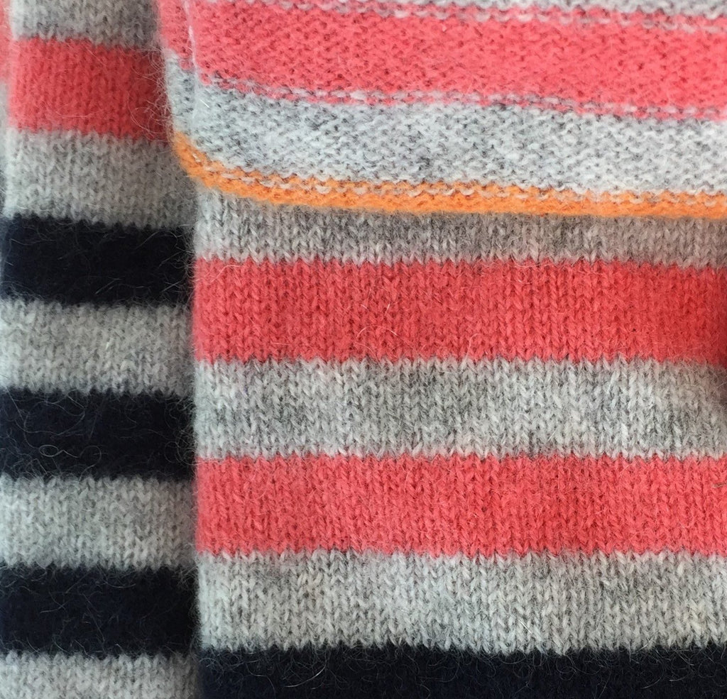 Navy, Grey, Coral & Orange Striped Cashmere Fingerless Gloves