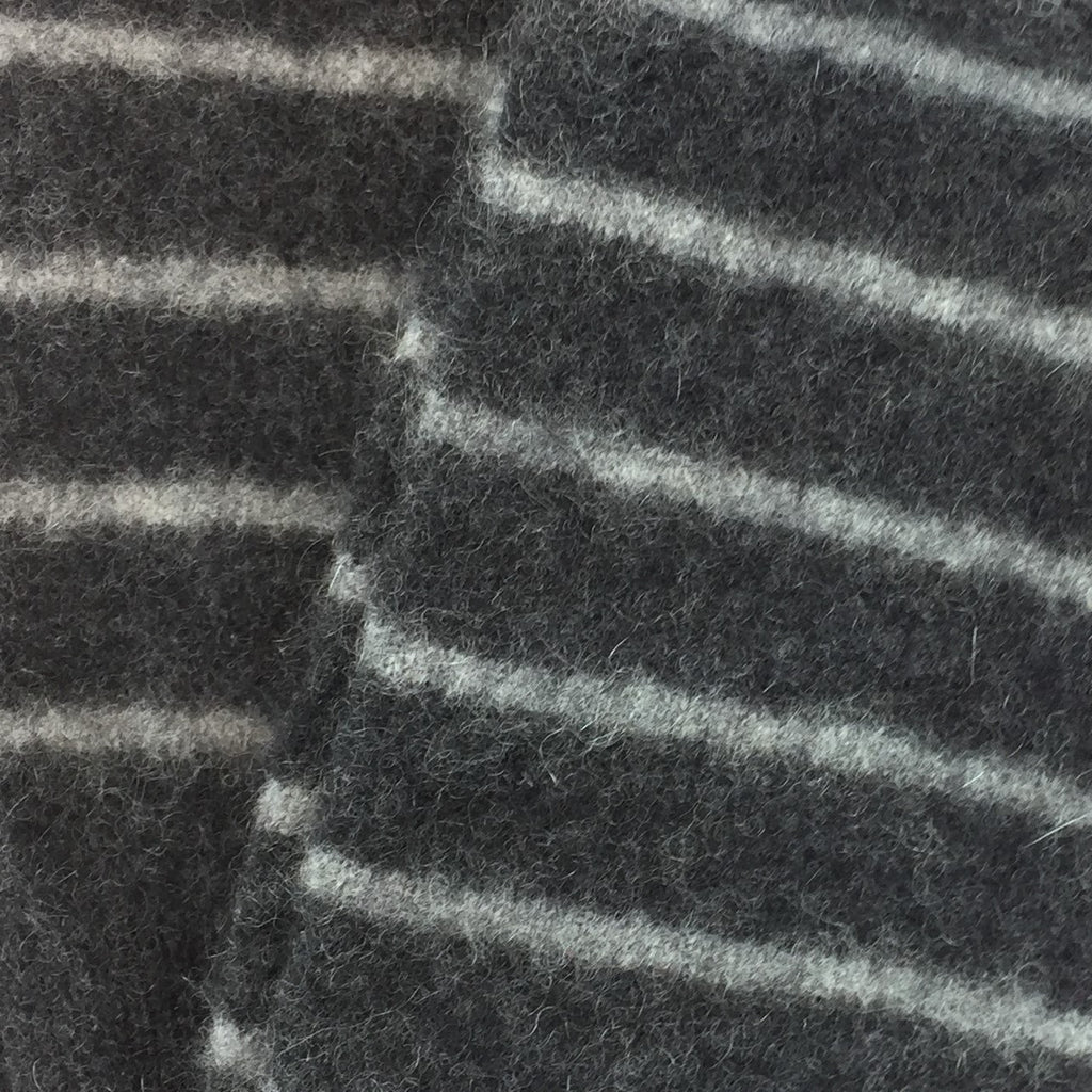 Charcoal Grey Stripe Cashmere Fingerless Gloves