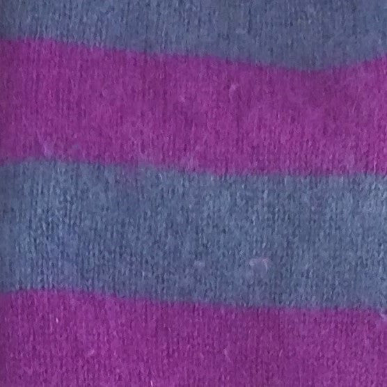 Blue-Grey & Purple Striped Cashmere Fingerless Gloves