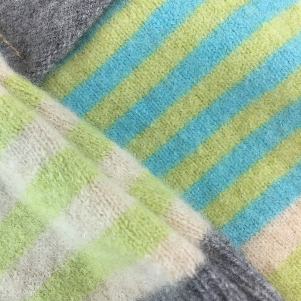 Lime, Grey Turquoise & White Striped Cashmere Fingerless Gloves