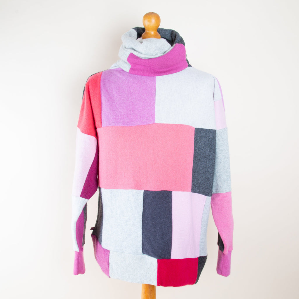 Turtle Doves Cashmere Roll Neck Jumper in Pink & Grey