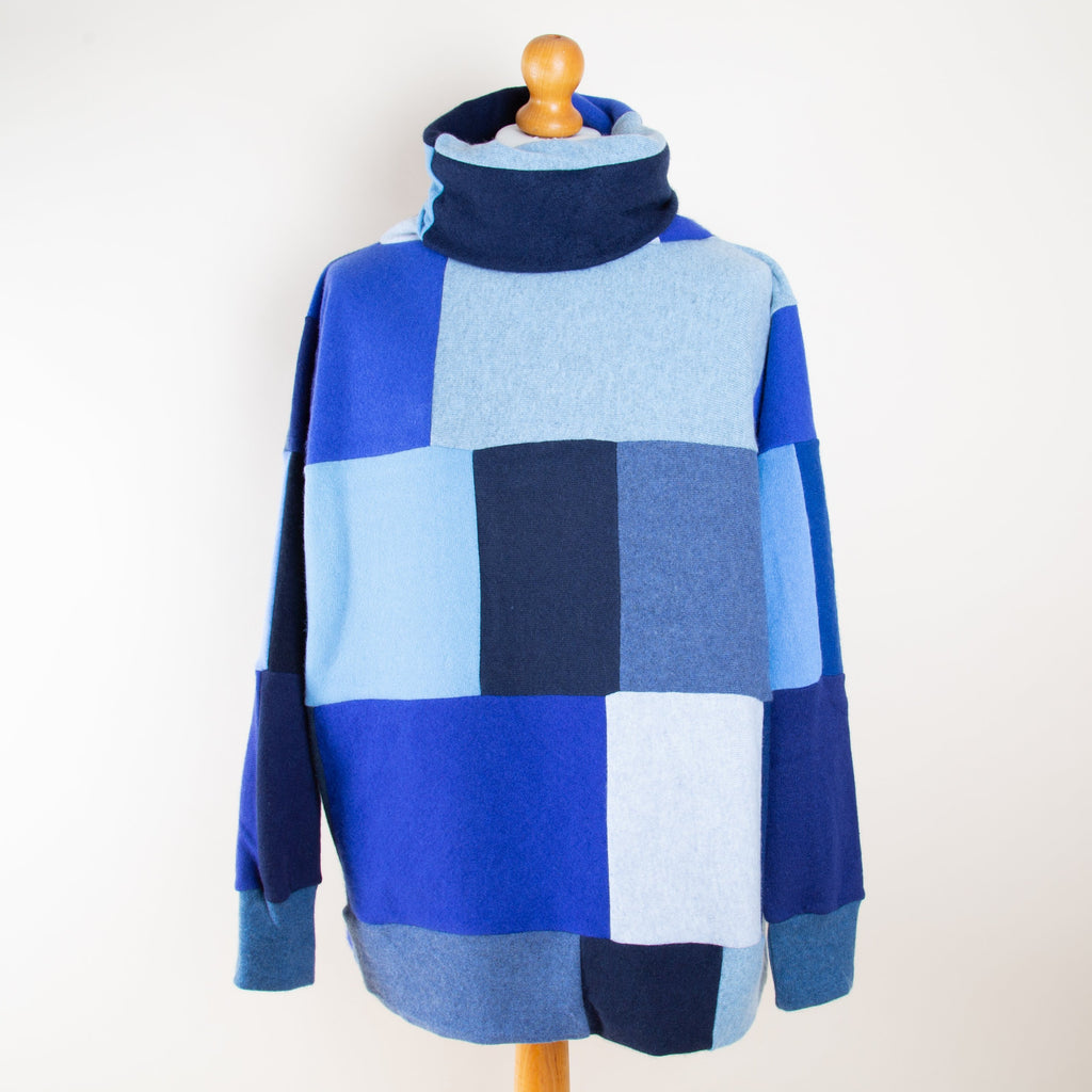 Turtle Doves Blue Mix Cashmere Roll Neck Jumper