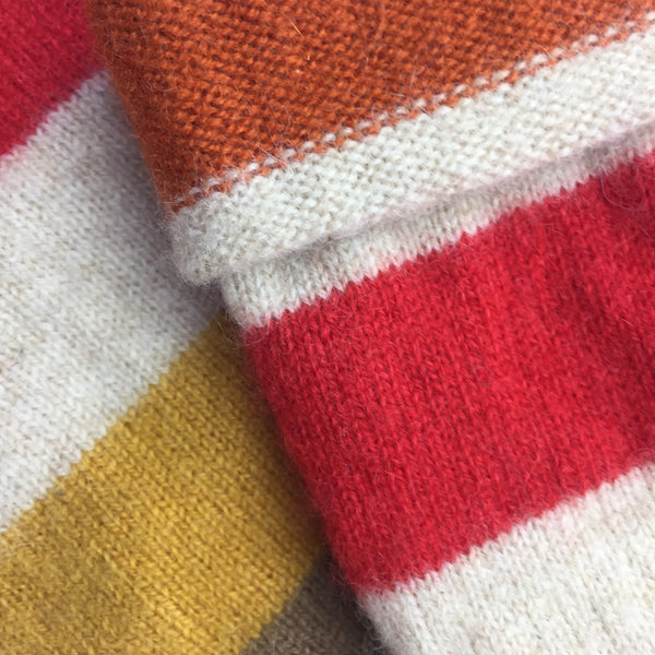 Mustard, Red & Orange Stripe Cashmere Fingerless Gloves