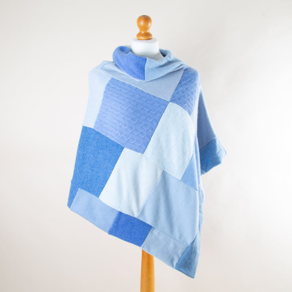 Light Blue Mix Turtleneck Cashmere Poncho