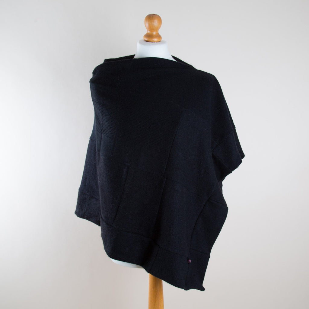 Classic Black Cashmere Poncho by Turtle Doves