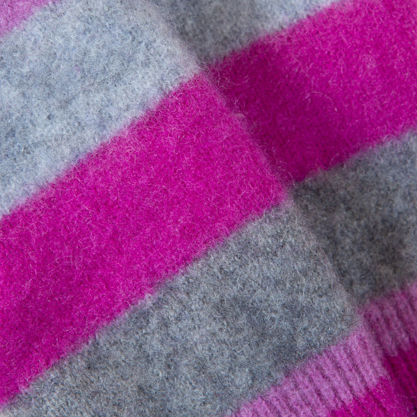 Pink & Grey Stripe Cashmere Fingerless Gloves by Turtle Doves