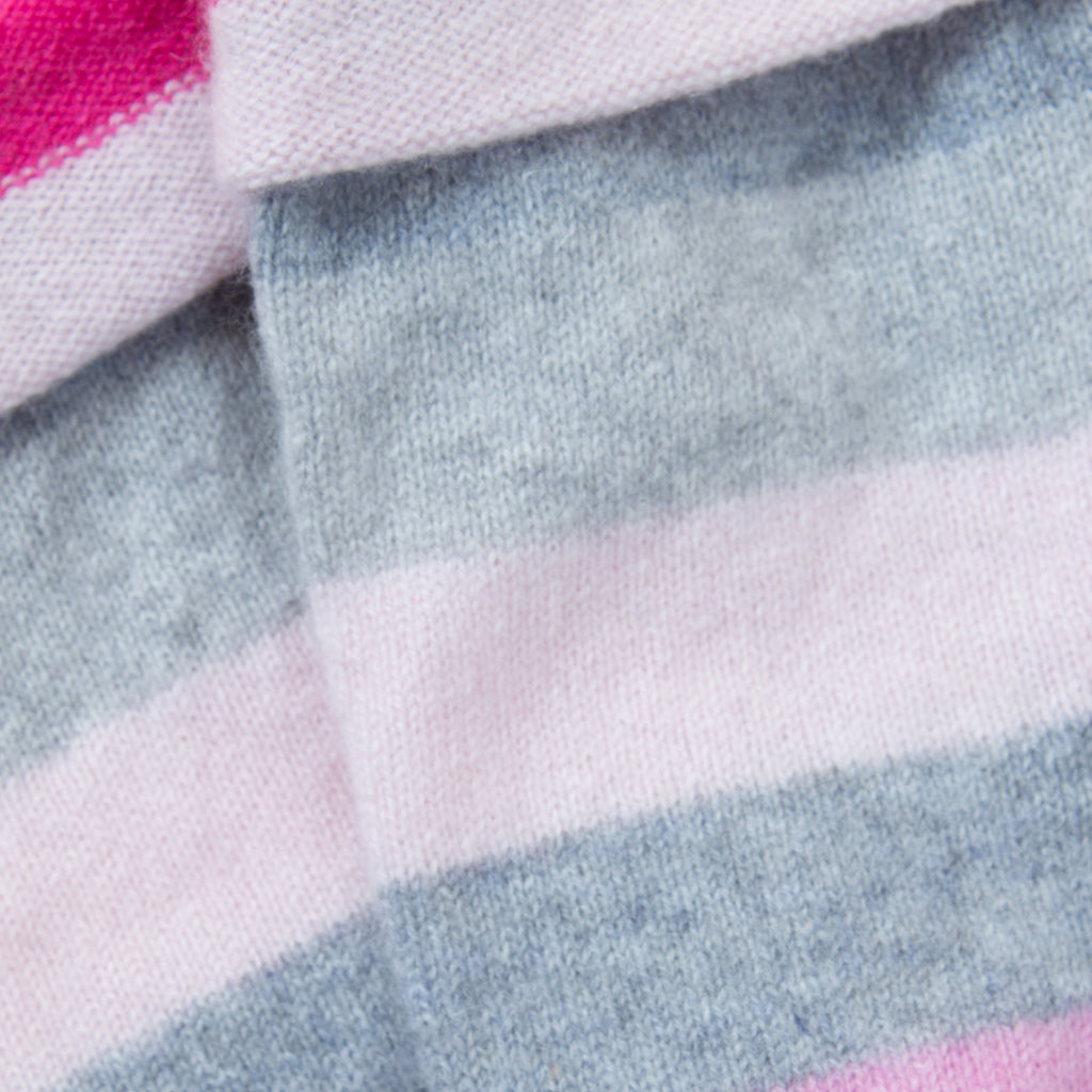 Pale Grey & Pink Striped Cashmere Fingerless Gloves by Turtle Doves