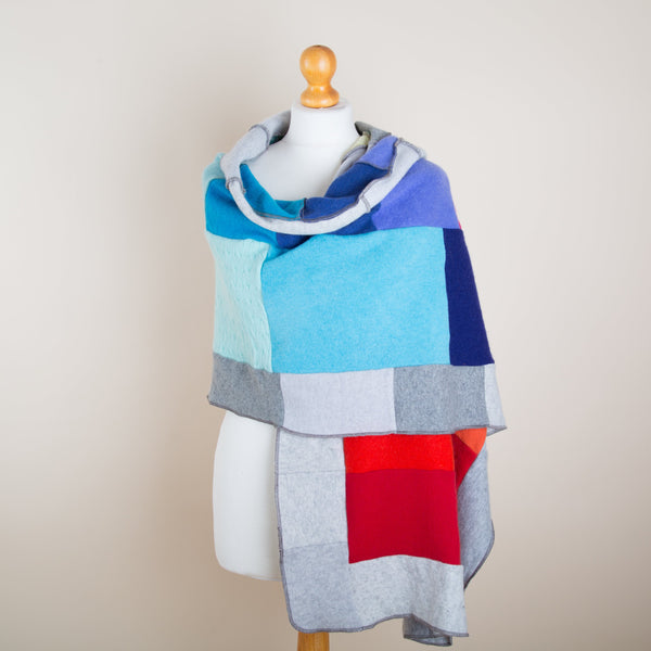 Midi Cashmere Wrap - Rainbow & Grey