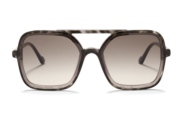Sunday Somewhere Atlas in Black Unisex Oversized Aviator Sunglasses
