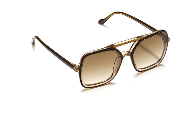 Sunday Somewhere Atlas in Olive Tort Unisex Oversized Aviator Sunglasses