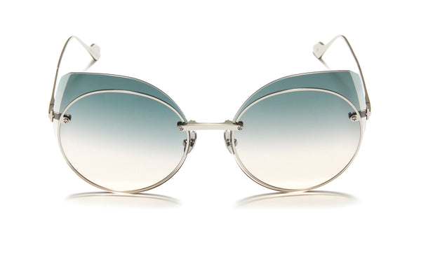 Sunday Somewhere Blossom Blue Women's Round Metal Sunglasses