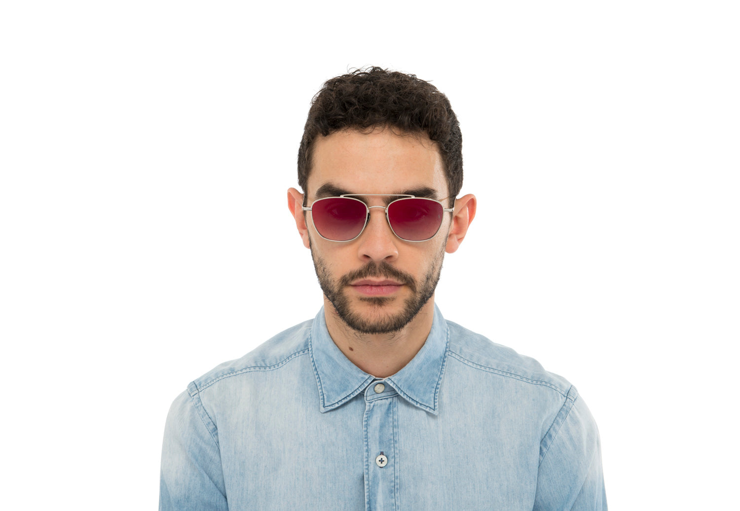 wearing Romeo aviator sunglasses in light blue
