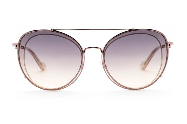 Ines round optical frame in champagne
