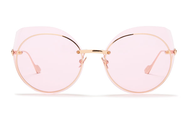 Sunday Somewhere Blossom Rose Gold Women's Round Metal Sunglasses